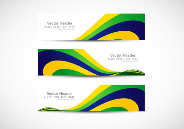 巴西奥运会国旗横幅设计背景矢量素材