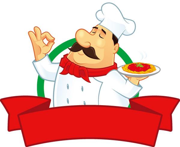 卡通大厨人物美食背景设计矢量素材