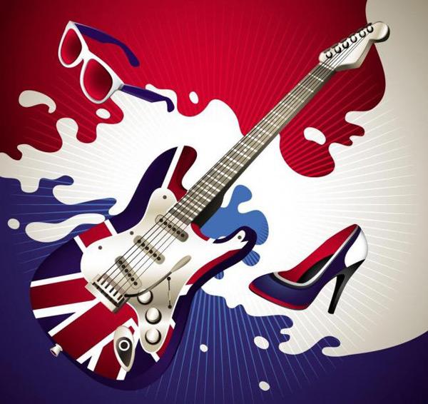 创意音乐吉他背景海报设计矢量素材