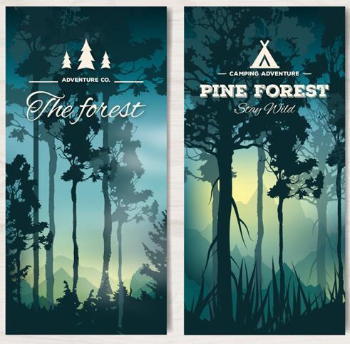 日落森林横幅设计矢量素材下载  森林——大片生长的树木