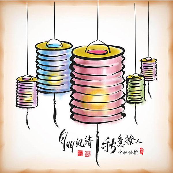 传统中秋节灯笼背景矢量素材