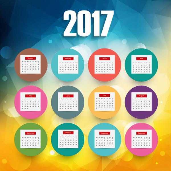 2017年卡通几何背景日历设计矢量素材