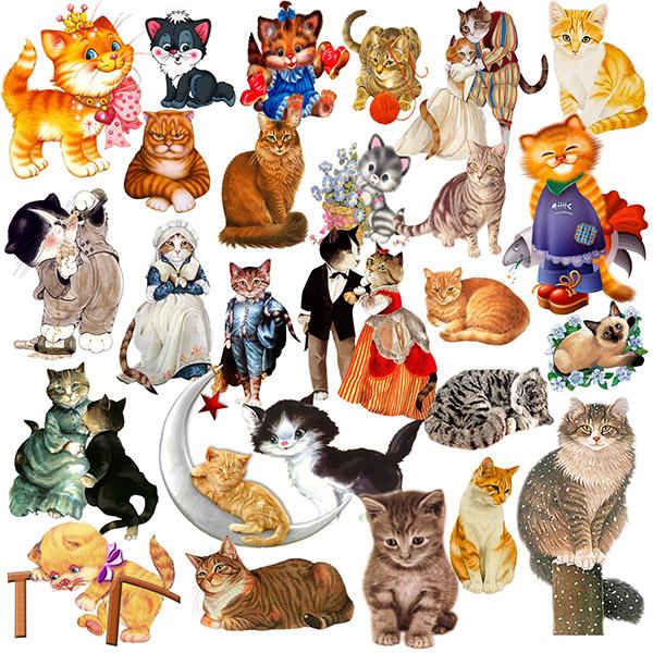 卡通拟人多种小猫动物背景psd素材