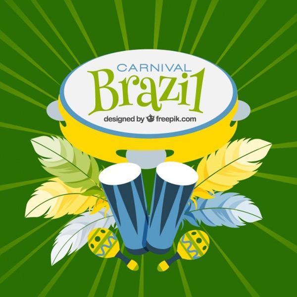 巴西狂欢羽毛手鼓背景矢量素材