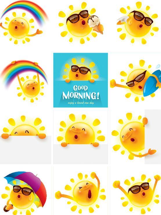 有用到浓郁可爱形象素材的用户们,这个小编为你准备的卡通太阳可爱形象设计矢量素材有着九张形象各异的卡通太阳拟人图案,图中有着在彩虹下高歌的,有拿着冰激凌开心吃的,有拿着滑板要去冲浪的,还有开心玩耍以及藏猫猫的可爱卡通太阳图形,详细内容请见JPG图片,喜欢可以几点几收藏!