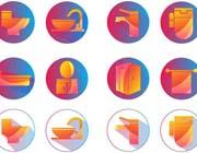 卫浴手机圆形图标设计矢量素材