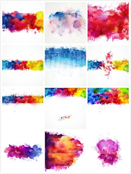 水彩颜料缤纷彩色背景设计矢量素材