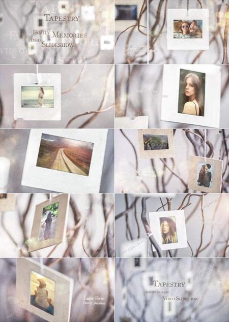 简洁白色悬挂照片家庭纪念相册ae模板图片