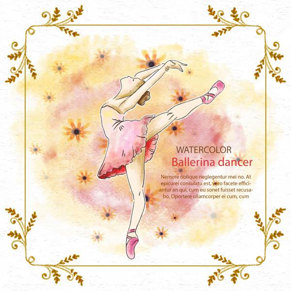 小女孩跳芭蕾舞水彩插画矢量素材