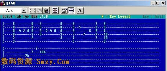 吉他谱编写软件下载 Quick Guitar Tab for DOS v4.0 免费版