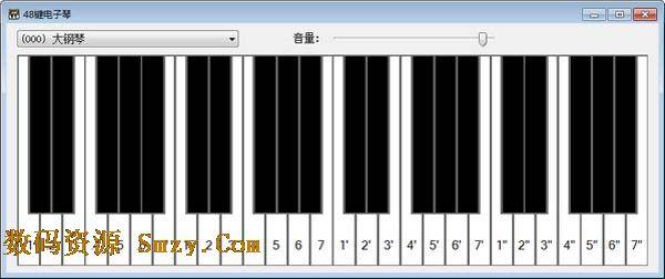本款电脑电子琴软件小巧,可以通过鼠标操作也可以通过键盘操作.