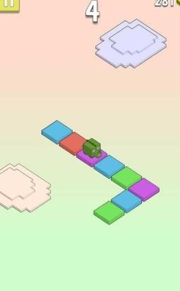 方块所组成,玩家需要点击屏幕下方的颜色按钮才能控制小动物前进