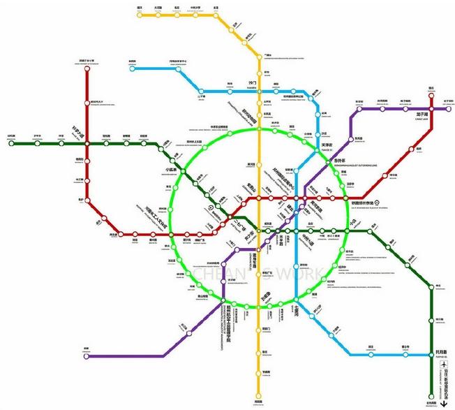 郑州地铁线路图高清版下载  目前,郑州地铁近景规划8条线路,远景规划