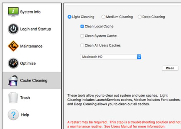 Sierra Cache Cleaner苹果电脑版界面