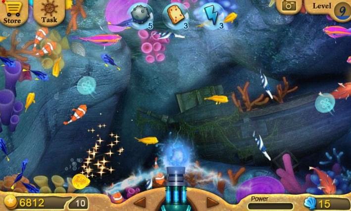 捕鱼日记安卓版(Fishing Diary)是DroidHen开发的一款休闲益智类游戏。 这是一款捕鱼游戏,游戏中为玩家提供了9个等级的火炮,而且还有水雷、面包、闪电三种道具供玩家使用。游戏中捕获美人鱼可以获得宝藏,捕获鲨鱼可以抽奖。游戏在线或离线状态都可获得金币。还等什么开始一个令人兴奋的钓鱼之旅吧!