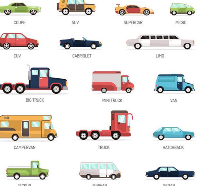 各种汽车创意设计卡通矢量图标素材