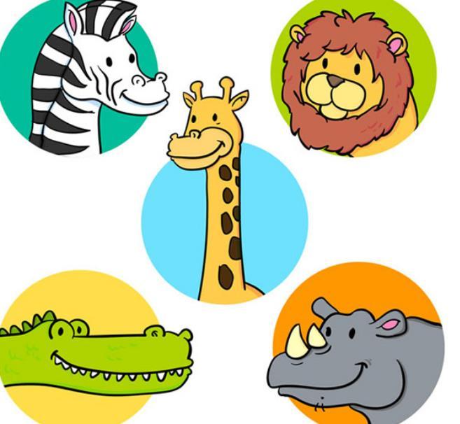 首页 资源下载 平面素材 矢量素材 动物 > 动物卡通圆形头像ai素材
