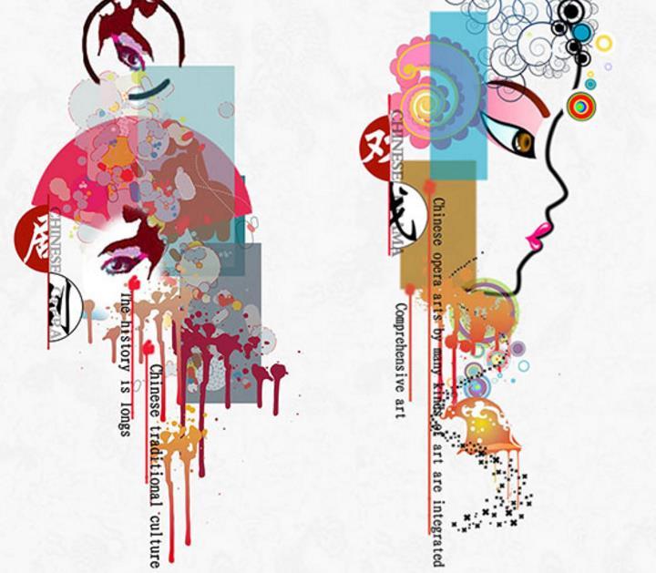 中国风文化宣传|手绘泼墨京剧人物头像素材psd分层