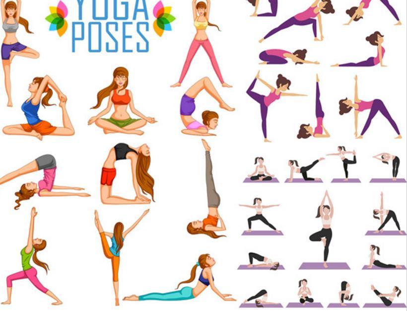 这款 卡通女性瑜伽运动矢量素材中有很多不同瑜伽动作,卡通人物将每个