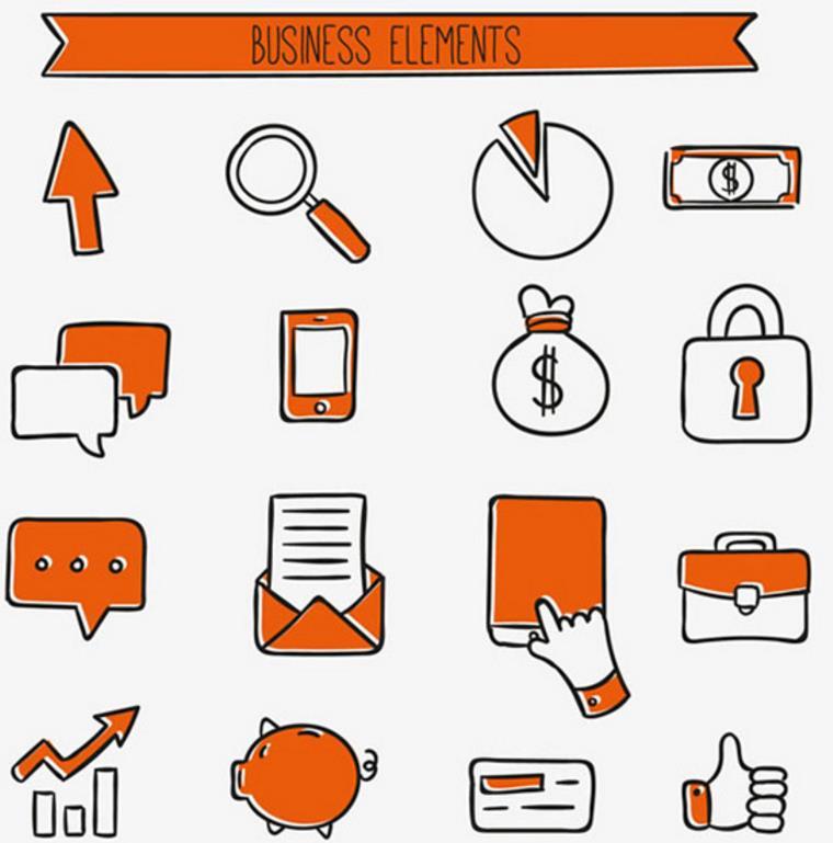 关于商务的图标有很多,最实用的还是手绘实用商务图标矢量素材,这款素材中有16款关于商务工作的图标,箭头、放大镜、金钱、信函、手机、锁头、公文包等等,图标是通过简单的绘画进行描述,让人通俗易懂。具体详情还请看jpg缩略图,有需要的小伙伴请下载收藏吧!