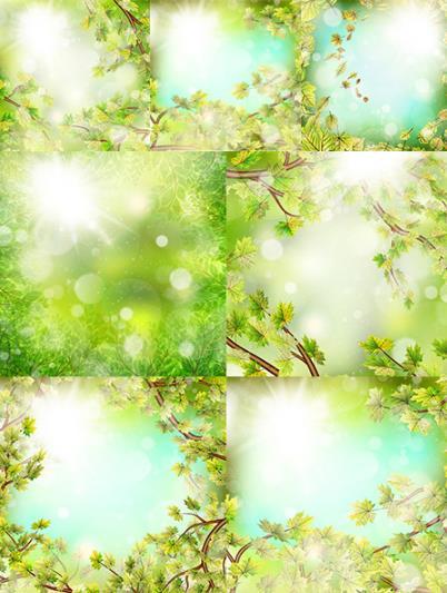 绿色春季主题唯美矢量图片素材下载 - 春天主题设计