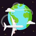 环球飞行轨迹旅行飞机矢量图