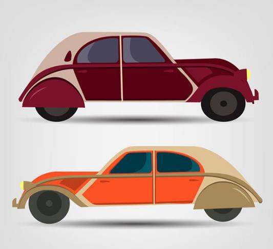 老爷车一般都代表着身份的象征,小编就为各位设计师们准备了复古老爷汽车设计矢量素材,其中共计两款复古形态的老爷车,分别为上面与下面各一台的摆放,老爷车整体的款式都由民国汽车造型设计的,整体突出轿车的除了款式还有颜色,上面汽车的颜色为棕黄色,下面汽车颜色设计为橙色与黄色相间,设计师们需要就来本站收藏吧。
