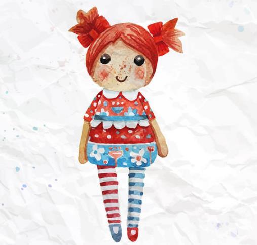 彩绘卡通布娃娃矢量图片素材