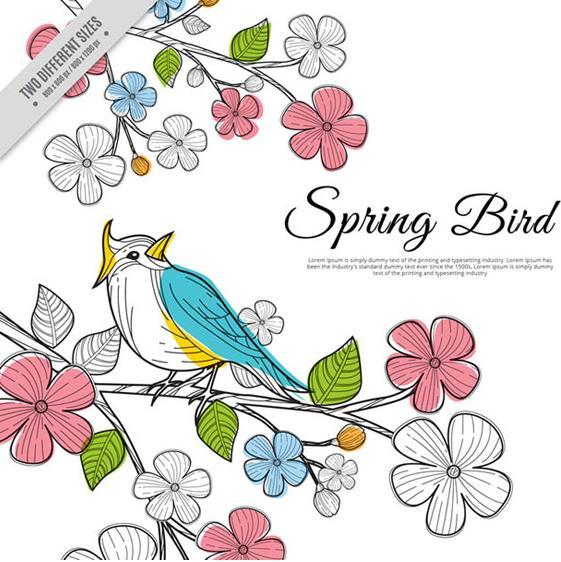 春节创意彩色花枝上小鸟矢量图