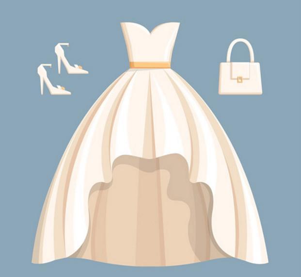 婚纱高跟鞋手提包矢量图