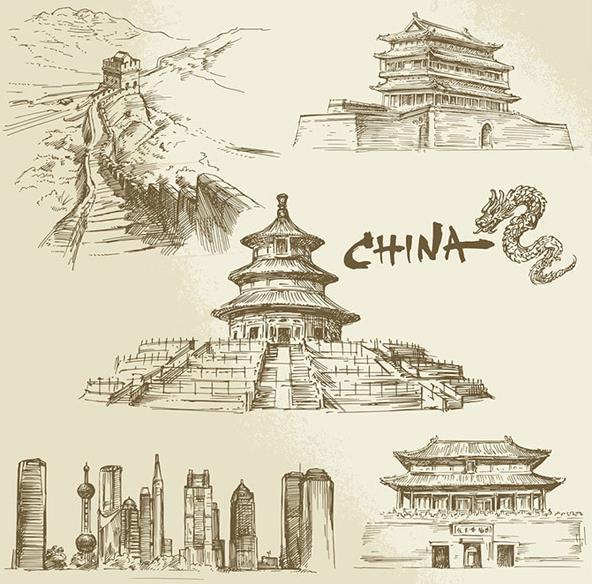 手绘中国著名景点建筑矢量图片素材