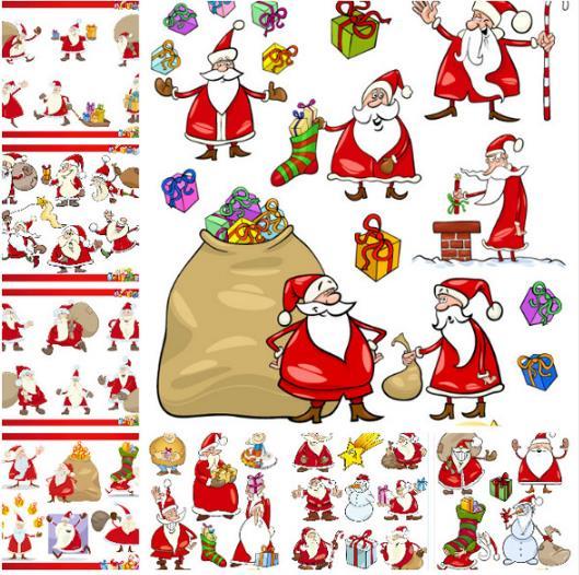多样卡通圣诞老人矢量图片素材