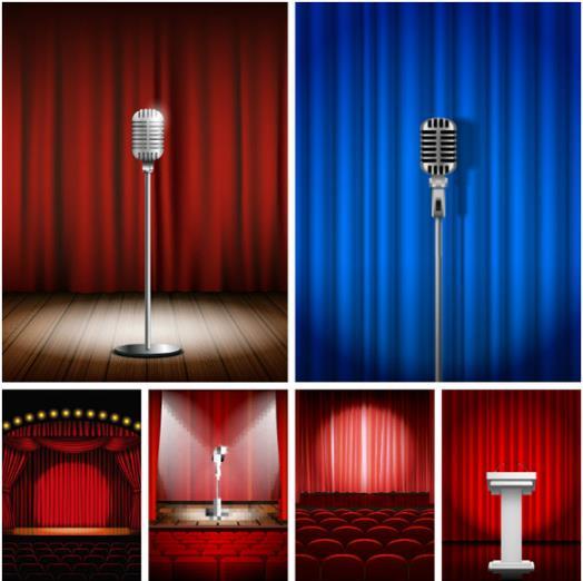 舞臺設計復古麥克風矢量圖片素材