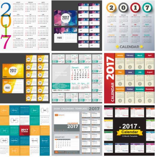 多种2017年日历台历矢量图