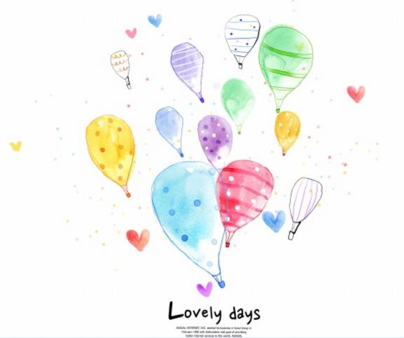 可爱水彩气球插画psd源文件