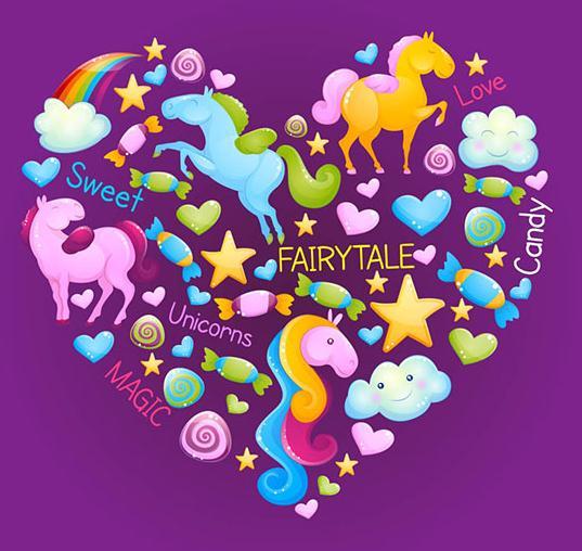 独角兽一般都是出现在童话中的,不过这次出现在了卡通彩色独角兽组合爱心创意AI素材中,图片可是以超级卡通紫色为背景设计的,图片中的爱心是由三只颜色大小不一的独角兽组成的,而且还有一组白云彩虹和各种颜色的小爱心,带着微笑的白云和糖块都在其中哦,棒棒糖,爱心,云朵,星星应有尽有。