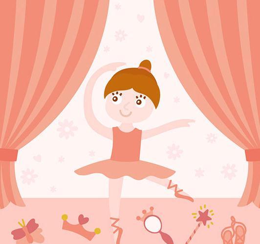 卡通芭蕾舞粉裙子小女孩ai元素