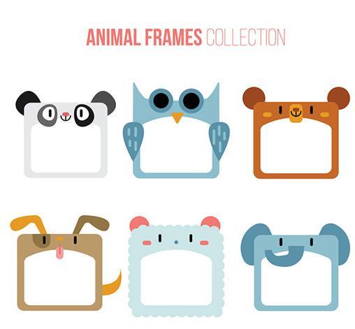 小动物空白相框矢量图片素材