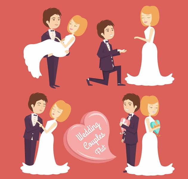 卡通人物爱心幸福婚礼ai素材