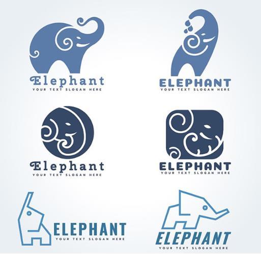 卡通小象logo企业商标设计ai素材