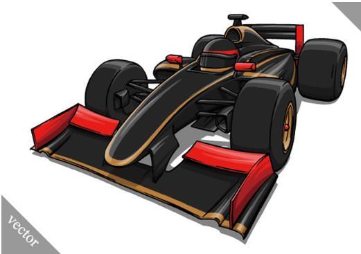 炫酷卡通黑色f1赛车设计矢量素材下载