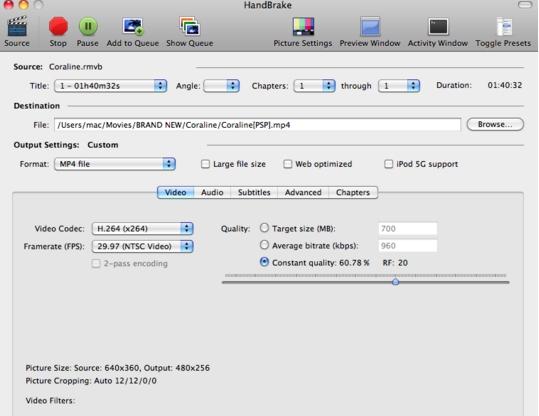 Handbrake把RMVB格式文件转换成MP4方法