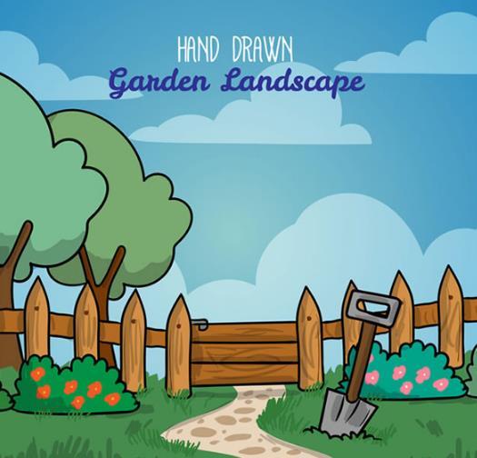 绿色花园的风景简直太美了,卡通花园栅栏风景矢量图片素材中为设计者们所呈现的风景可是既卡通又唯美的,树木,栅栏,铁锨,花卉,灌木,植物,云朵都是图片中为大家所呈现的,悠长的小道儿上海铺上了大小不一的石子儿,草坪上还布满了绿油油的小草和粉色与红色花朵。需要就来数码资源网下载吧。