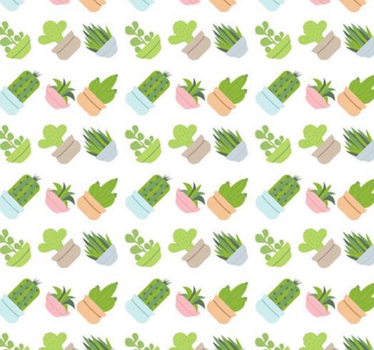 创意设计多肉盆栽植物矢量图