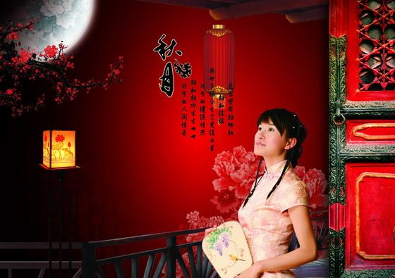 大红灯笼与古装美女人物等分层素材