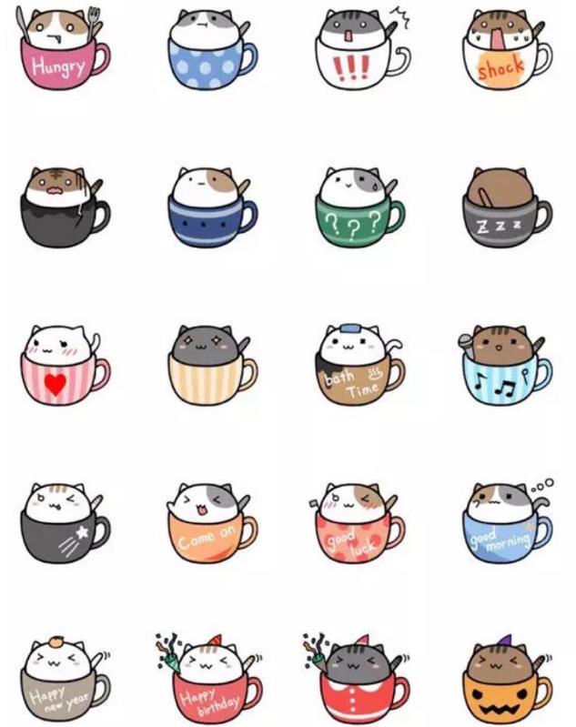 卡通茶杯猫手绘psd源文件