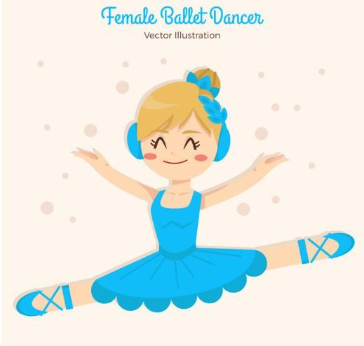 卡通蓝裙子跳芭蕾舞的女孩矢量图