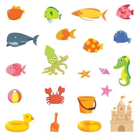 卡通海洋生物和沙滩玩具设计矢量图