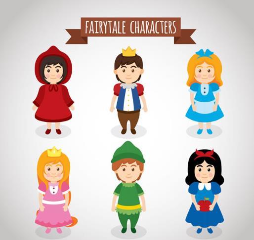 童话故事中的儿童角色设计矢量图
