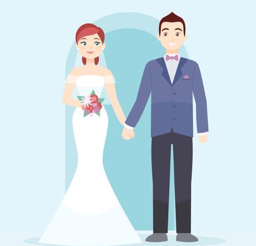 卡通新郎与新娘牵手矢量素材